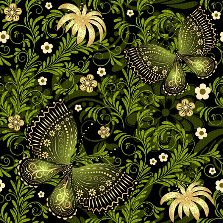Spring dark and green seamless pattern with gold flowers and butterflies and translucent dots