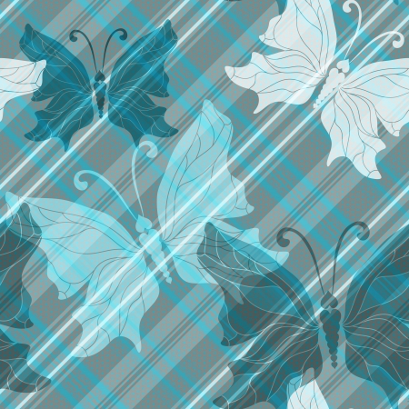 Gray-blue checkered pattern with diagonal strips and translucent butterflies and polka dots Illustration