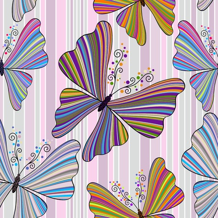 Striped seamless pattern with striped colorful butterflies Stock Vector - 19558661