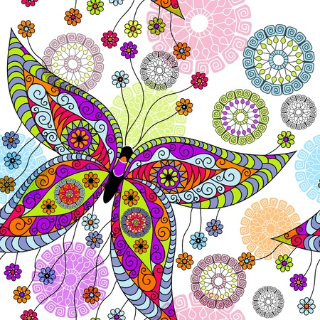 Seamless white floral spring pattern with vivid butterflies