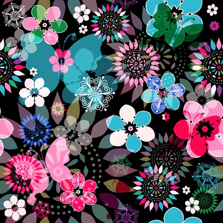 Seamless dark floral pattern with colorful flowers,  translucent butterflies and decorative circles