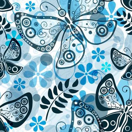 Seamless white floral pattern with translucent butterflies and blue flowers