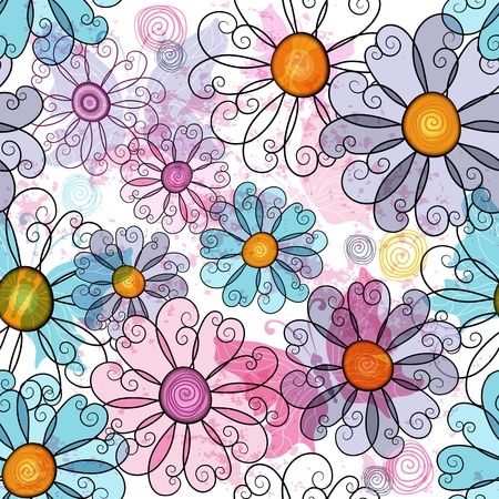 Seamless spring grunge spotty floral pattern with colorful flowers and  transparent butterflies