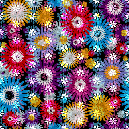Seamless vivid floral spring pattern with translucent colorful flowers