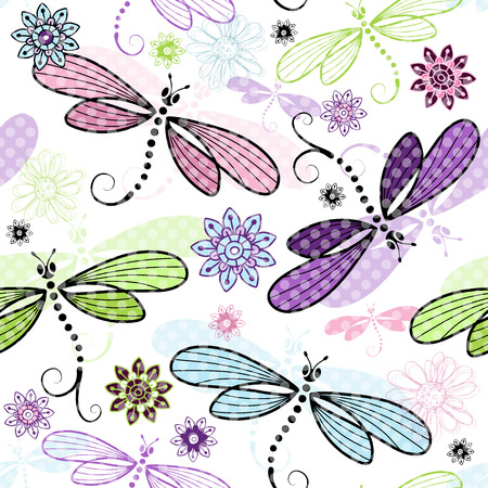 Spring seamless floral pattern with colorful dragonflies and translucent polka dots