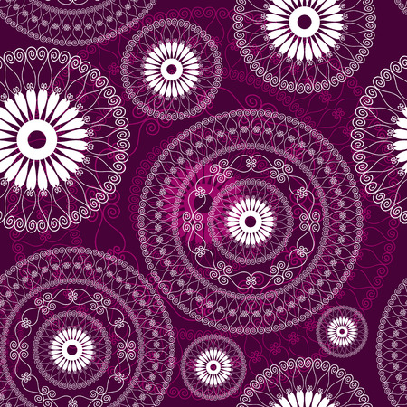 Vintage purple seamless white pattern with white filigree circles (vector) Stock Vector - 24025902