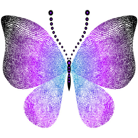 Fantasy grungy vintage butterfly isolated on white (vector) Illustration