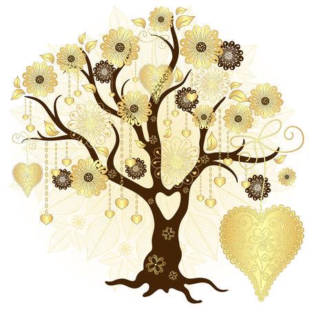 ゴールド バレンタイン装飾的な木で、花と心 (ベクトル)