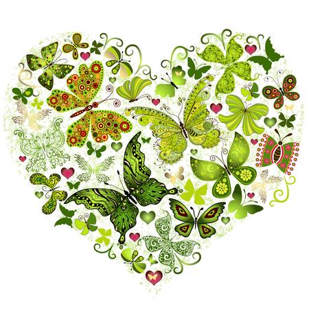 Big Spring grunge hart gemaakt van groene vlinders (vector) Stock Illustratie