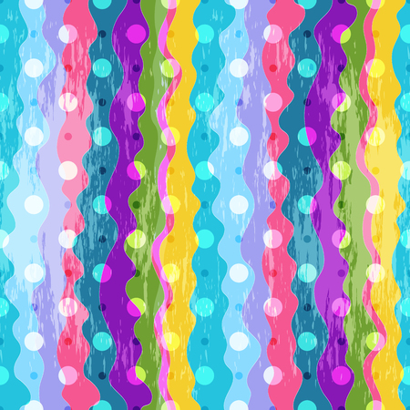 Colorful seamless pattern with irregular vertical stripes and dots in grunge style