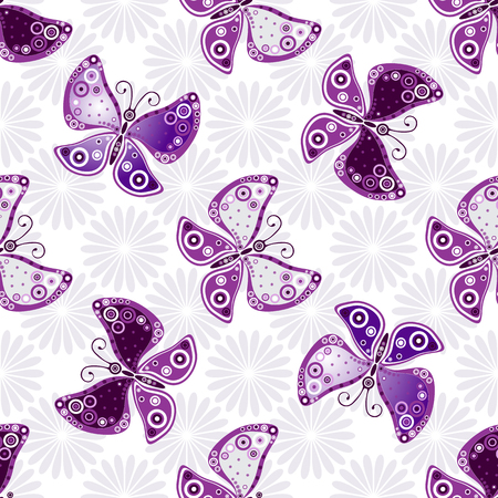 Seamless floral pattern with violet butterflies and flowers(vector)