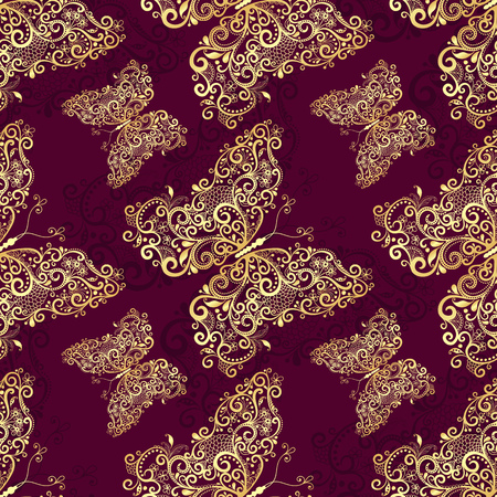 Seamless purple pattern with gold vintage butterflies, vector
