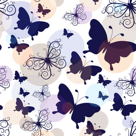 Seamless pattern with graphic black and lacy vintage butterflies with pastel colorful balls