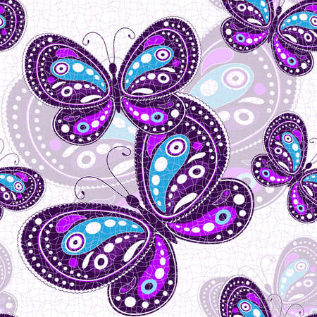 Seamless pattern vivido con farfalle viola