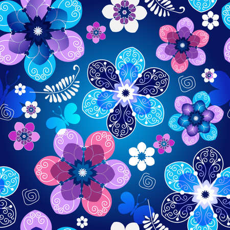 Floreale blu modello di primavera senza soluzione di continuità scuro con fiori d'epoca e farfalle