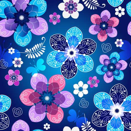patrón de color azul oscuro floral transparente de primavera con flores y mariposas de época