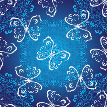 Seamless dark blue christmas  luxurious pattern with vintage lacy snowflakes and butterflies