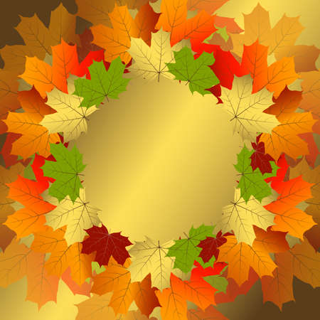 Autumn decorative floral frame with colorful translucent maple leaves