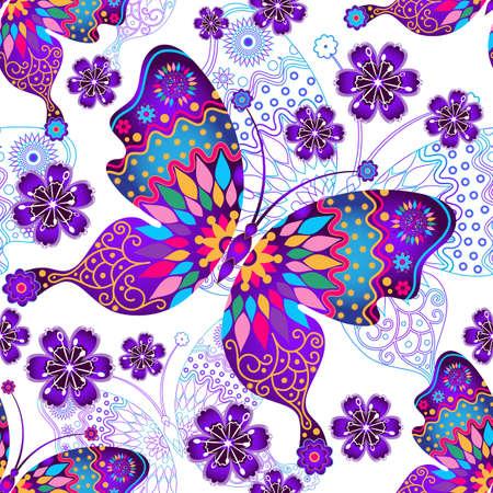 Seamless pattern con l'annata gradiente farfalle colorate e fiori
