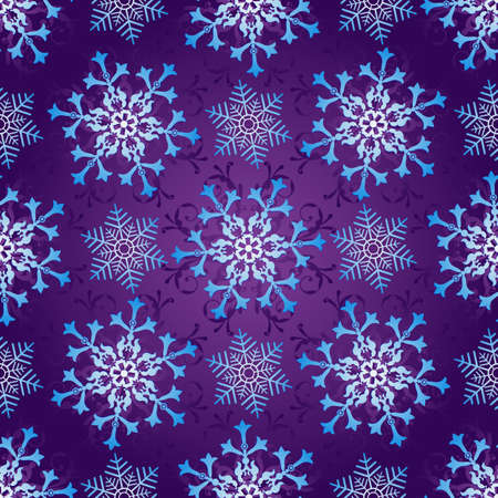 Seamless dark violet christmas pattern with vintage gradient snowflakes