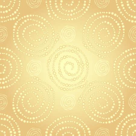 Gouden naadloze patroon met gouden gradiëntpunten spiralen