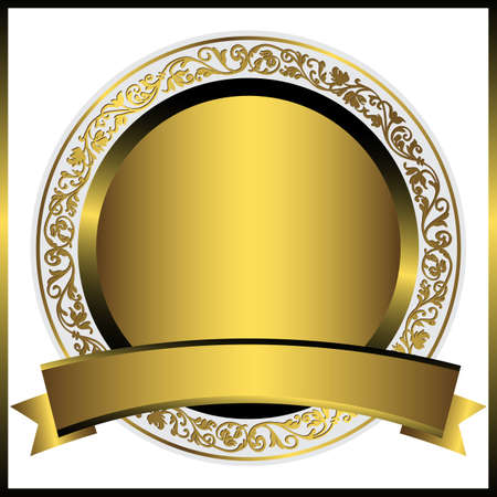 oro piatto rotondo decorativo con nastro d'oro