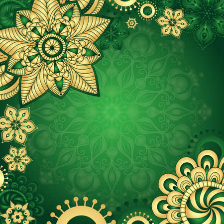 Gold-green vintage frame with gold gradient flowers, vector illustration Ilustrace