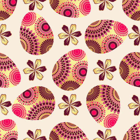Easter seamless pattern with colorful eggs and vintage flowers, vector