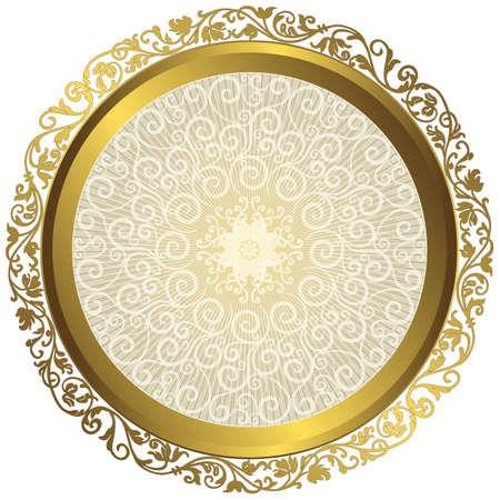 Gouden en witte vintage ronde geïsoleerde frame met stralen over wit, vector eps10