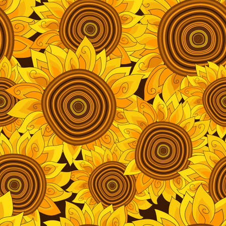 Vivid seamless pattern with golden sunflowers.