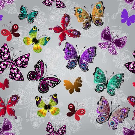 motif gris dégradé transparente avec brillants papillons colorés et blanc dentelle, vecteur