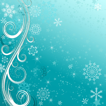 Winter blue Christmas frame with snowflakies and stars (eps 10)