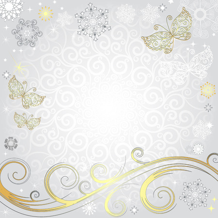 Winter silvery Christmas frame with snowflakes and gold butterflies (vector eps 8)