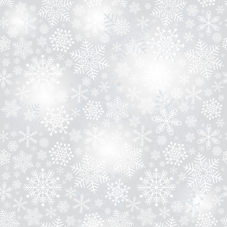 Delicate silvery seamless Christmas pattern with snowflakes and spots, vector eps 8