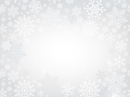 Winter silvery Christmas frame with snowflakes, vector eps8