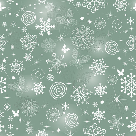 Abstract gentle green Christmas pattern with snowflakes and butterflies, vector eps 8 Illustration