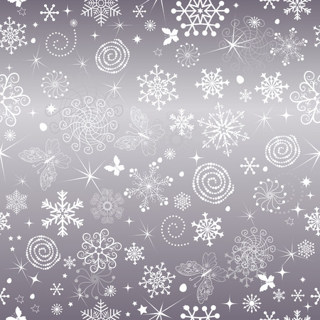 Abstract gentle violet Christmas seamless pattern with snowflakes and butterflies, vector eps 8
