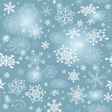 Blue gradient Christmas seamless pattern with white snowflakes and stars, vector eps 8 Illustration