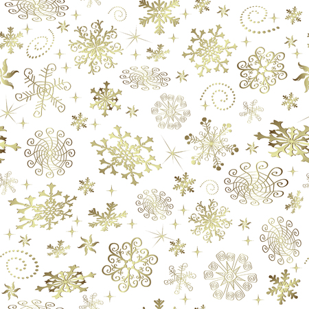 Abstract Christmas seamless pattern with golden snowflakes and stars, vector eps 8