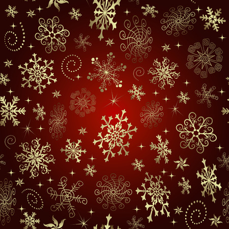 Red gradient Christmas seamless pattern with golden snowflakes and stars, vector eps 8 Illustration
