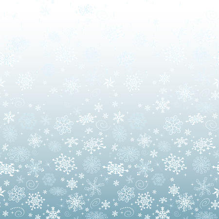 Winter blue gradient Christmas frame with snowflakies and stars, vector eps 8