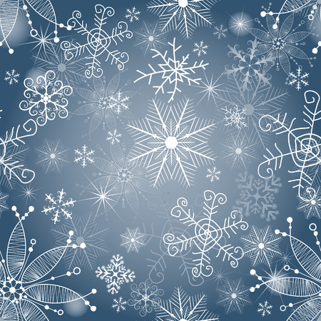 Delicate blue and silvery seamless Christmas pattern with snowflakes and spots, vector eps 8