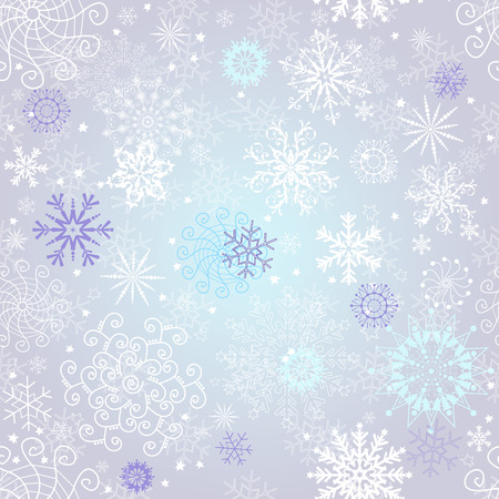 Delicate silvery seamless Christmas pattern with white and violet snowflakes, vector eps 8
