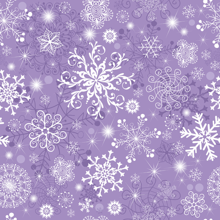 Violet pastel seamless Christmas pattern with snowflakes and spots and stars, vector eps 8