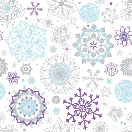 White pastel seamless Christmas pattern with snowflakes and spots, vector eps 8