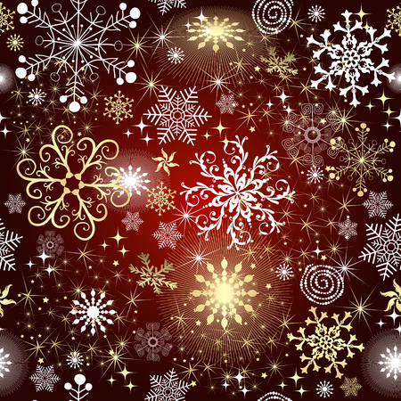 Red gradient Christmas seamless pattern with golden and white snowflakes and stars, vector eps 8