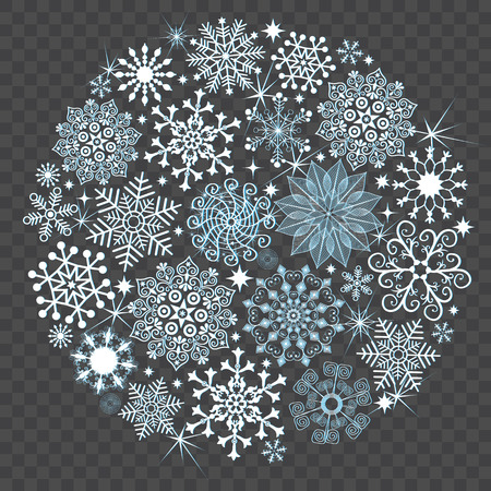 Snowy Christmas ball made of carved snowflakes and stars on a transparent background, vector eps 8