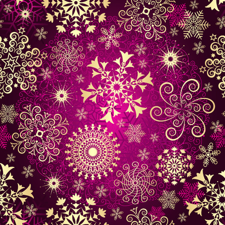 Purple gradient Christmas seamless pattern with golden snowflakes and stars, vector eps 8