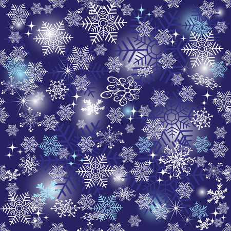 Violet Christmas seamless pattern with white snowflakes and stars and gradient spots, vector eps 8