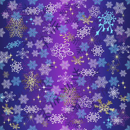Violet gradient seamless Christmas pattern with snowflakes and stars, vector eps 8